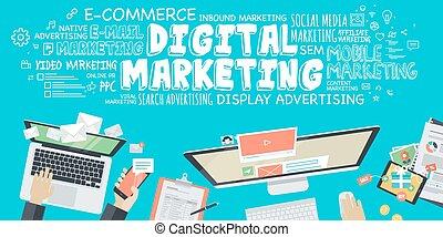 digitale, marketing, concetto