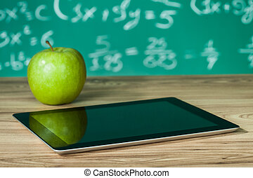 digitale, mela, tavoletta, scrivania