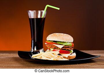 digiuno, saporito, franch, hamburger, soda, cibo, frigge