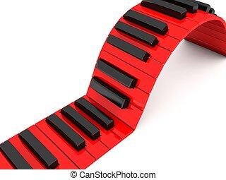 dimensionale, chiavi, pianoforte, tre