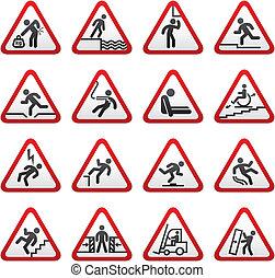 dimensionale, set, avvertimento, segno pericolo
