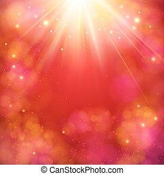 dinamico, astratto, sunburst, sfondo rosso