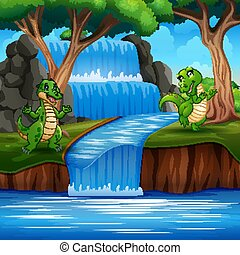 dinosauri, gioco, verde, natura