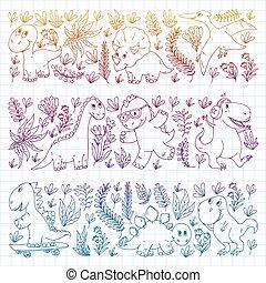 dinosauri, vivaio, tessuto, dino., illustrazione, tessile, modello, bambini, vettore, wallpaper., children.