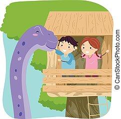 dinosauro, bambini, stickman, treehouse, brontosauro