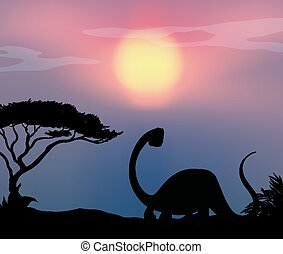 dinosauro, fondo, natura