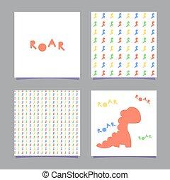 dinosauro, scandinavo, parola, isolato, textiles, colorare, modello, vestiti, dinosaurs., parete, illustrazione, seamless, fondo., vettore, ruggito, cartelle, bianco, uno, style., manifesti, capretto