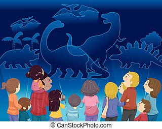 dinosauro, stickman, ologramma, famiglia