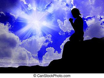 dio, donna pregando