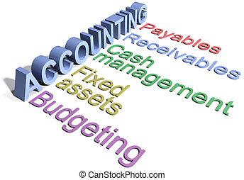 dipartimento, contabilità, affari corporativi, parole