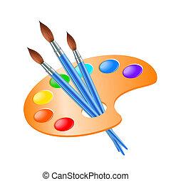 dipingere tavolozza, spazzola arte, disegno