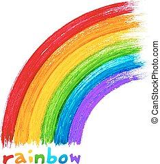 dipinto, acrilico, vettore, immagine, arcobaleno