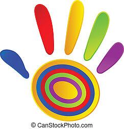 dipinto, colori, vivido, mano