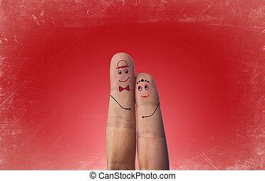dipinto, coppia, amore, felice