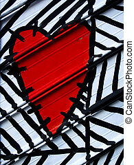 dipinto, cuore, metallo