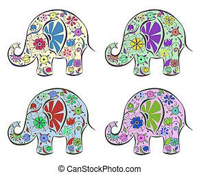 dipinto, flowers., set, elefanti