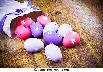 dipinto, fondo., uova, pasqua, legno