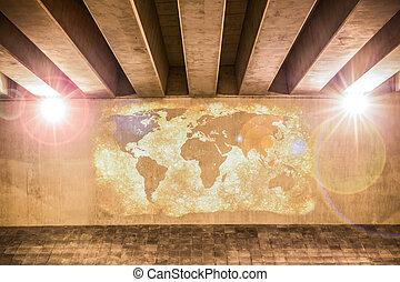 dipinto, mappa, parete, mondo