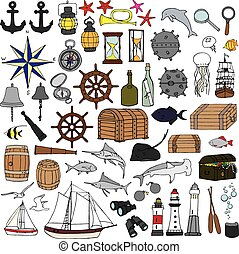 dipinto, simboli, marino, mano