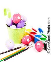 dipinto, vario, brushes., uova pasqua