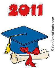 diploma, berretto, laureato, 2011