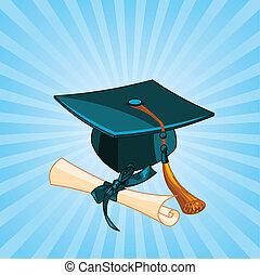 diploma, berretto, radiale, graduazione
