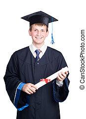 diploma, isolato, laureato, sorridente, tipo, felice