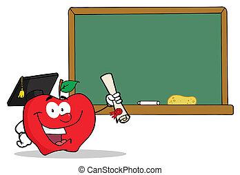 diploma, laureato, presa a terra, mela