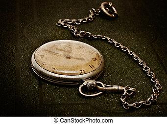 dire bugie, superficie grezza, vecchio, catena, verde, orologio