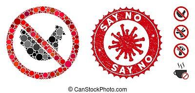 dire, collage, no, coronavirus, pollo, sigillo, afflizione, icona
