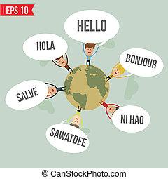 dire, mondo, vettore, -, lingue, ciao, eps10, illustrazione