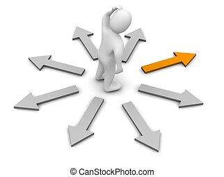 direction., reso, illustration., destra, scegliere, 3d
