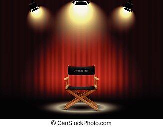 director's, riflettore, fondo, tenda, sedia