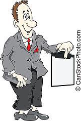 direttore, appunti, cartone animato