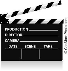 direttore, film, vettore, lavagna, sl