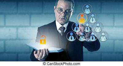 direttore, hr, accesso, file, impiegato, sbloccando