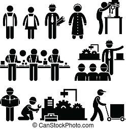 direttore, lavoratore, fabbrica, lavorativo