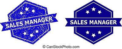 direttore, vendite, esagono, francobollo, pulito, versione, superficie, gomma