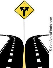 direzione, decisione, frecce, segno, futuro, scelta, strada