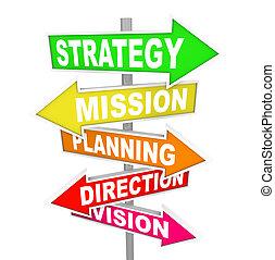 direzione, missione, strategia, pianificazione, strada firma, visione