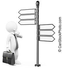 direzione, persone., segno, pensieroso, bianco, uomo, 3d