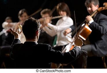 dirigere, orchestra symphony, conduttore