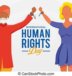 diritti, freedom., simbolo, giorno, internazionale, umano, differente, innalzamento, rotto, fondo., mani, persone, corsa, catene