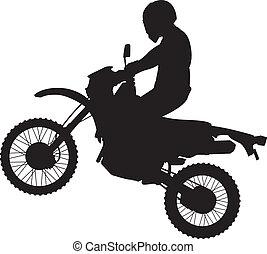 dirtbike, saltare, silhouette