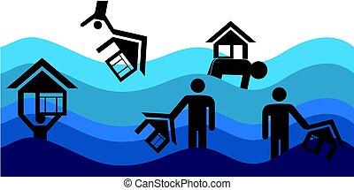 disastro, casa, inondazione, vettore, insurance., casa, illustration.