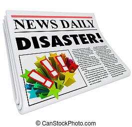 disastro, titolo, allarme, giornale, guaio, crisi