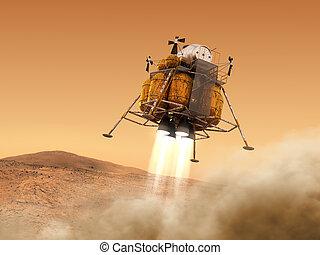discesa, spazio, interplanetario, modulo, pianeta, stazione, atterraggio, marte