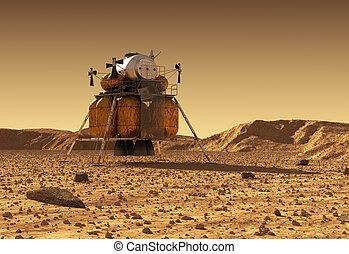 discesa, spazio, interplanetario, modulo, pianeta, stazione, superficie, marte