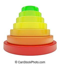 dischi, piramide, colorato