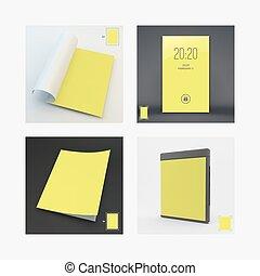 disco, illustration., affari, case., mobile, serratura, schermo, moderno, layout., vettore, disegno, a4, sagoma, vuoto, apps., cd, pagina, blank., 3d